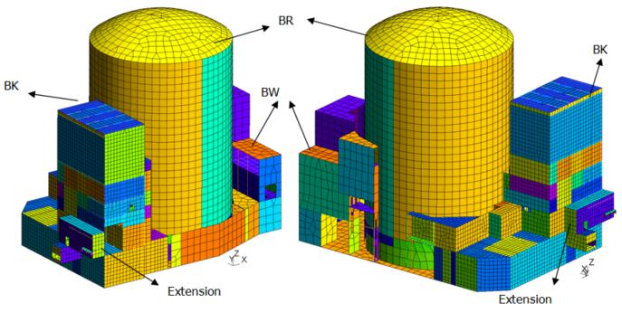 Image du maillage des bâtiments BR, BW et BK avec son extension